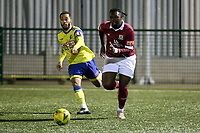 Kieron Cathline of Potters Bar and Roman Michael-Percil of Haringey Borough Haringey Borough vs Potters Bar Town, Pitching In Isthmian League Premier Division Football at Coles Park Stadium on 28th September 2021