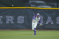 High Point Panthers center fielder Ryan Russell (9) throws the ball back to the infield during the game against the Campbell Camels at Williard Stadium on March 16, 2019 in  Winston-Salem, North Carolina. The Camels defeated the Panthers 13-8. (Brian Westerholt/Four Seam Images)