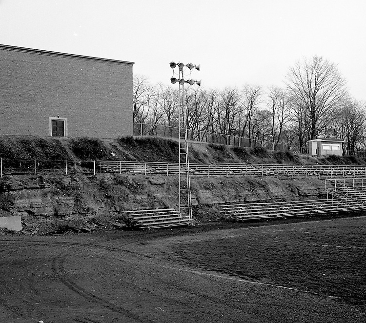 Bethel Park PA: View of the Bethel Park High School football field. The field, lights, and stands were not good for a AA football program.
