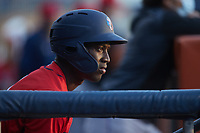 Jesus Sanchez (7) of the Jacksonville Jumbo Shrimp watches from the dugout during the game against the Durham Bulls at Durham Bulls Athletic Park on May 15, 2021 in Durham, North Carolina. (Brian Westerholt/Four Seam Images)