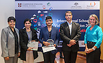 11 Feburary 2015, New Delhi, India: Australian High Commissioner to India Mr. Patrick Suckling with Priya Kamineni of Bond University (left) and and Angela French of Cambridge English presenting certificates and prizes to student winners from The British School , Delhi of the Digital Business section India International Video Competition run by Austrade in conjunction with Cambridge English and major sponsors Singapore Airlines presented at the Australian High Commission, New Delhi.  Picture by Graham Crouch/Austrade