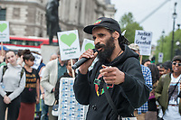 Survivors, family members and supporters of the Grenfell Tower tragedy gather in Parliament square one year after the fire. for a protest during a parliamentary debate about the disaster. 14-5-18
