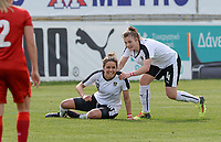 20180302 - LARNACA , CYPRUS : Austrian Laura Feiersinger (18) pictured celebrating her goal with teammate Viktoria Pinther (4) and the lead for Austria during a women's soccer game between Austria and Czech Republic , on friday 2 March 2018 at the AEK Arena in Larnaca , Cyprus . This is the second game in group B for Austria and Czech Republic during the Cyprus Womens Cup , a prestigious women soccer tournament as a preparation on the World Cup 2019 qualification duels. PHOTO SPORTPIX.BE | DAVID CATRY