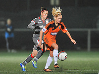 20131017 - GLASGOW , SCOTLAND :  Glasgow's Denise O'Sullivan (right) pictured with Standard's Audrey Demoustier (left) during the female soccer match between GLASGOW City Ladies FC and STANDARD Femina de Liege , in the 1/16 final ( round of 32 ) second leg in the UEFA Women's Champions League 2013 in Petershill Park in Glasgow. First leg ended in a 2-2 draw . Thursday 17 October 2013. PHOTO DAVID CATRY