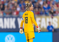 CHARLOTTE, NC - OCTOBER 3: Ashlyn Harris #18 of the United States watches the ball during a game between Korea Republic and USWNT at Bank of America Stadium on October 3, 2019 in Charlotte, North Carolina.