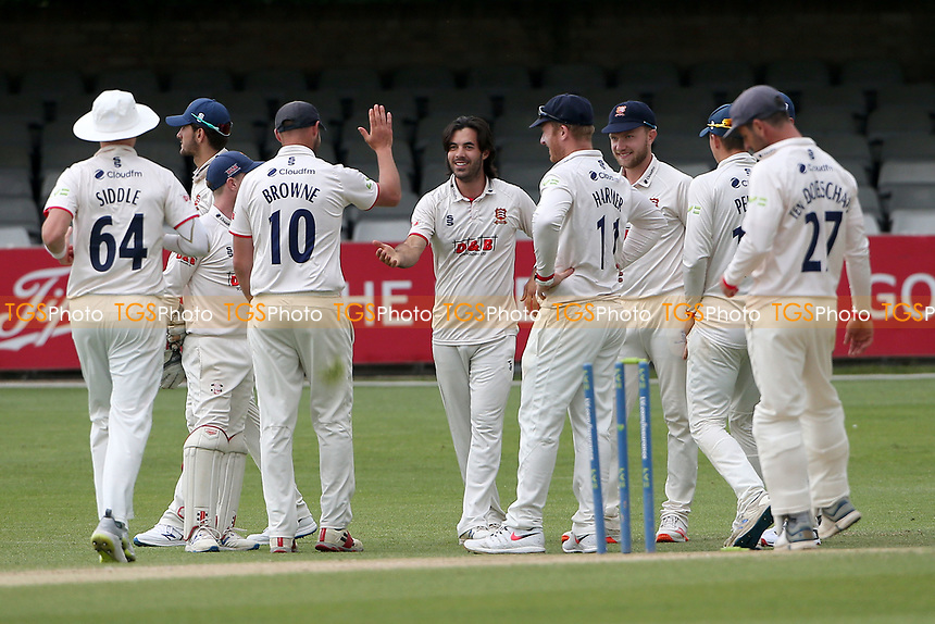 Shane Snater (C) of Essex celebrates with his team mates after taking the wicket of Ben Duckett during Essex CCC vs Nottinghamshire CCC, LV Insurance County Championship Group 1 Cricket at The Cloudfm County Ground on 6th June 2021
