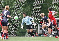 Christie Welsh #13 of the Washington Freedom puts the ball past Karina LeBlanc #1 of the Canadian national team for a goal during an international friendly match on May 23 2010, at George Mason University in Fairfax, Virginia. The match ended in a 3-3 tie.