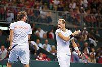 Switserland, Genève, September 19, 2015, Tennis,   Davis Cup, Switserland-Netherlands, Doubles: Dutch team Matwe Middelkoop/Thiemo de Bakker (R)  photo 9<br /> Photo: Tennisimages/Henk Koster