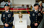 LOUISVILLE, KY - MAY 05: The Kentucky Derby trophy is closely guarded on Kentucky Derby Day at Churchill Downs on May 5, 2018 in Louisville, Kentucky. (Photo by Scott Serio/Eclipse Sportswire/Getty Images)