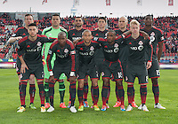 Toronto, Ontario - May 3, 2014: The starting eleven of the Toronto FC during a game between the New England Revolution and Toronto FC at BMO Field.<br /> The New England Revolution won 2-1.