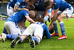 St Mirren v St Johnstone…09.05.21  Scottish Cup Semi-Final Hampden Park <br />Glenn Middleton is mobbed by his team mates after scoring.<br />Picture by Graeme Hart.<br />Copyright Perthshire Picture Agency<br />Tel: 01738 623350  Mobile: 07990 594431