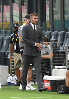 12th May 2021; Fort Lauderdale, Miami, USA;  David Beckham with Head coach Phil Neville and David Gardner  prior to the CF Montreal versus Inter Miami CF match on May 12, 2021 at DRV PNK Stadium.