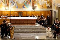Papa Francesco col presidente di Libera Don Luigi Ciotti, a destra, durante la veglia di preghiera per le vittime innocenti della mafia nella parrocchia di San Gregorio VII a Roma, 21 marzo 2014.<br /> Pope Francis, flanked by Libera anti-mafia association's president Don Luigi Ciotti, right, during a vigil prayer for innocent victims of mafia, at the parish church of San Gregorio VII in Rome, 21 March 2014.<br /> UPDATE IMAGES PRESS/Riccardo De Luca<br /> <br /> STRICTLY ONLY FOR EDITORIAL USE