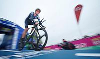 Bradley Wiggins (GBR) shooting off the start podium<br /> <br /> Tour of Britain<br /> stage 3: ITT Knowsley Safari Park (16.1km)