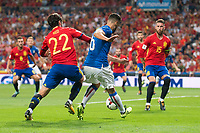 Spain's Fernando Alarcon 'Isco' and Sergio Ramos and Italy's Antonio Candreva during match between Spain and Italy to clasification to World Cup 2018 at Santiago Bernabeu Stadium in Madrid, Spain September 02, 2017. (ALTERPHOTOS/Borja B.Hojas)
