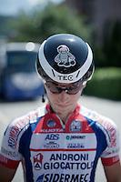 """bad boy"" Marco Bandiera's  (ITA/Androni Giocattoli-Sidermec) costumized helmet<br /> <br /> Giro d'Italia 2015<br /> stage 18: Melide (SUI) - Verbania (170km)"