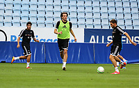 Wednesday 07 August 2013<br /> Pictured L-R: Alejandro Pozuelo, Michu and Angel Rangel training at the Malmo FF Stadium, Sweden.<br /> Re: Swansea City FC travelling to Sweden for their Europa League 3rd Qualifying Round, Second Leg game against Malmo.