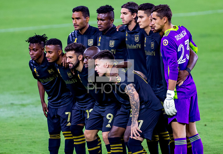 LOS ANGELES, CA - SEPTEMBER 23: Los Angeles Football Club starting eleven during a game between Vancouver Whitecaps and Los Angeles FC at Banc of California Stadium on September 23, 2020 in Los Angeles, California.