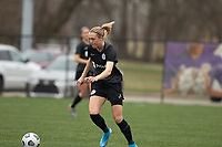 LOUISVILLE, KY - MARCH 13: Freja Olofsson #8 of Racing Louisville FC dribbles the ball during warmups before a game between West Virginia University and Racing Louisville FC at Thurman Hutchins Park on March 13, 2021 in Louisville, Kentucky.