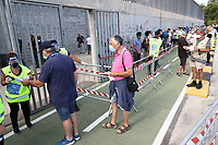 supporters do security check prior to the friendly football match between Castel di Sangro Cep 1953 and ASD L'Aquila 1927 at stadio Patini in Castel di Sangro, Italy, August 28, 2020. <br /> Photo Cesare Purini / Insidefoto