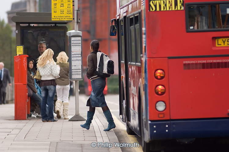 Bus stop in central London.