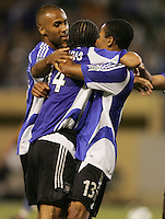 29 June 2005:   Dwayne De Rosario of Earthquakes celebrates with Ricardo Clark and Julian Nash after De Rosario scored a game-winning goal against Rapids in second half at Spartan Stadium in San Jose, California.   Earthquakes defeated Rapids, 1-0.  Mandatory Credit: Michael Pimentel / ISI
