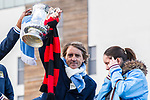 © Joel Goodman - 07973 332324  . 23/05/2011 . Manchester, UK . Manchester City manager, ROBERTO MANCINI , holds the cup aloft on the bus . Tens of thousands of fans line the streets of Manchester as Manchester City Football Club hold an open-topped bus parade through the city. The team are celebrating winning the FA Cup, their first trophy in 35 years, and for qualifying for next season's Champions League . Photo credit: Joel Goodman
