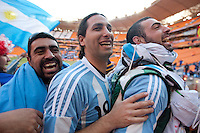 An Argentina fans celebrates at Soccer City in Johannesburg, South Africa on Thursday, June 17, 2010 during Argentina's and South Korea FIFA World Cup first round match.