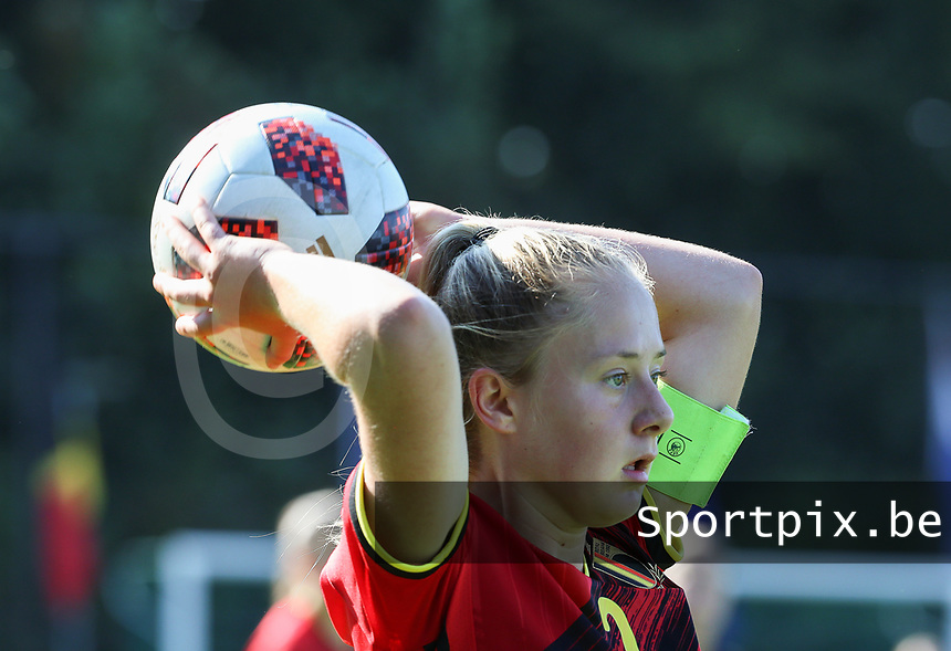 Captain Tinne Broeckaert (2) of Belgium gets ready for a throw in during an international friendly female soccer game between the national teams of Belgium , called the Red Flames U17 and the Netherlands on Wednesday 8th of September 2020  in Kalmthout , Belgium . PHOTO SPORTPIX.BE | SPP | SEVIL OKTEM