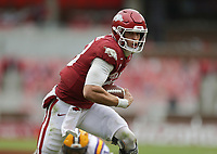 Arkansas quarterback Feleipe Franks (13) carries the ball for a score, Saturday, November 21, 2020 during the third quarter of a football game at Donald W. Reynolds Razorback Stadium in Fayetteville. Check out nwaonline.com/201122Daily/ for today's photo gallery. <br /> (NWA Democrat-Gazette/Charlie Kaijo)