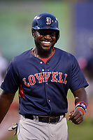 Lowell Spinners designated hitter Brandon Phillips (7) walks to the dugout after the top of the seventh inning during a game against the Auburn Doubledays on July 13, 2018 at Falcon Park in Auburn, New York.  Phillips was promoted to Triple-A Pawtucket after the game; the former All-Star signed a minor league free agent deal with the Boston Red Sox June 27th and played six games with the Spinners batting .318 with one home run and 7 RBI's.  Lowell defeated Auburn 8-5 in ten innings (Mike Janes/Four Seam Images)
