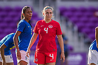 ORLANDO, FL - FEBRUARY 24: Shelina Zadorsky #4 of the CANWNT waits for the corner during a game between Brazil and Canada at Exploria Stadium on February 24, 2021 in Orlando, Florida.