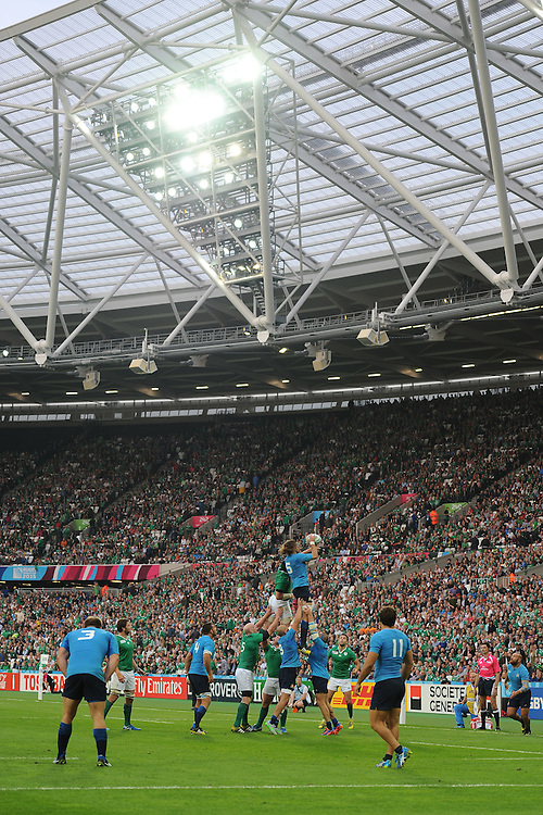 Josh Furno of Italy wins a lineout under the distinct lights of the Queen Elizabeth Olympic Park during Match 28 of the Rugby World Cup 2015 between Ireland and Italy - 04/10/2015 - Queen Elizabeth Olympic Park, London<br /> Mandatory Credit: Rob Munro/Stewart Communications
