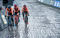 Lucinda Brand (NED/Baloise-Trek Lions) leading her 2 strongest countrywomen into the final lap: Annemarie Worst (NED/777) & Denise Betsema (NED/Pauwels Sauzen-Bingoal) who will all end up on the podium in that order eventually <br /> <br /> UCI 2021 Cyclocross World Championships - Ostend, Belgium<br /> <br /> Women's Race<br /> <br /> ©kramon