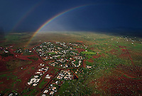 Halls Creek and surrounding area from aerials made after a thunderstorm when rainbows are abundant.