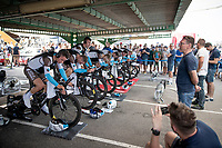 Team AG2R-La Mondiale warming up for the opening TTT<br /> <br /> Stage 1 (TTT): Salinas de Torrevieja to Torrevieja (13.4km)<br /> La Vuelta 2019<br /> <br /> ©kramon