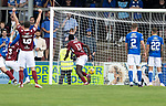 Arbroath v St Johnstone…15.08.21  Gayfield Park      Premier Sports Cup<br />Joel Nouble scores for Arbroath<br />Picture by Graeme Hart.<br />Copyright Perthshire Picture Agency<br />Tel: 01738 623350  Mobile: 07990 594431