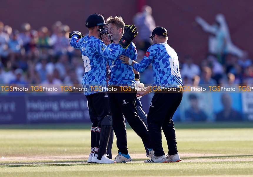 Will Beer (C) of Sussex celebrates taking the wicket of Heino Kuhn off his own bowling during Kent Spitfires vs Sussex Sharks, Vitality Blast T20 Cricket at The Spitfire Ground on 18th July 2021