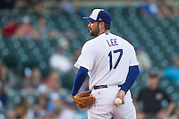Oklahoma City Dodgers pitcher Zach Lee (17) readies a pitch during a game against the Omaha Storm Chasers at Chickasaw Bricktown Ballpark on June 16, 2016 in Oklahoma City, Oklahoma. Oklahoma City defeated Omaha 5-4  (William Purnell/Four Seam Images)