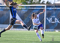 Marie Minnaert (13) of Club Brugge pictured in a duel with Laura De Neve (8) of Anderlecht during a female soccer game between Club Brugge Dames YLA and RSC Anderlecht on the fourth matchday in Play-Off 1 of the 2020 - 2021 season of Belgian Scooore Womens Super League , saturday 1st May 2021  in Brugge , Belgium . PHOTO SPORTPIX.BE | SPP | DAVID CATRY