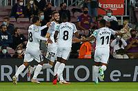 20th September 2021; Nou Camp, Barcelona, Spain; La Liga football league;  FC Barcelona versus Granada;   Coutinho Meneses Duarte celebration after scoring for 0-1 in minute 2