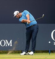 160719 | The 148th Open - Tuesday Practice<br /> <br /> Jon Rahm of Spain on the first tee during practice for the 148th Open Championship at Royal Portrush Golf Club, County Antrim, Northern Ireland. Photo by John Dickson - DICKSONDIGITAL