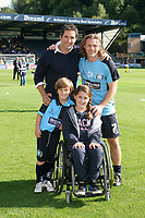 Leo Castledine as a mascot for Wycombe alongside his sister, Kitty and father Stewart Castledine and Wycombe player, Gareth Ainsworth.  Leo is now an England U15 International and recently completed a transfer from AFC Wimbledon to Chelsea during Wycombe Wanderers vs AFC Wimbledon, NPower League Two Football at Adams Park on 22nd September 2012