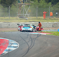 30th August 2020; Knockhill Racing Circuit, Fife, Scotland; Kwik Fit British Touring Car Championship, Knockhill, Race Day; Mike Bushell and Ollie Jackson are involved in a collision in round 12 of the BTCC