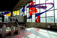 ID :  pr_99-06-24-A 30.jpg<br /> <br /> D&K :  Montreal, June 24, 1999 File Photo.<br /> Like all Montreal Subway Stations, the `` Champ de Mars `` station feature contemporary artwork.<br />  In this case ; colored glass by Marcelle Ferron. It was installed in 1967 by Aurele Johnson using silicon instead of lead. Due to aging, it will need renovation soon.<br /> The``  Champs the Mars ``  subway station is located near the Montreal City Hall in historic Old-Montreal.<br /> (Quebec, Canada)<br /> <br /> Photo by Pierre Roussel, (c) 1999