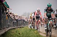 Tiesj Benoot (BEL/Lotto-Soudal) in the first passage up the Oude Kwaremont<br /> <br /> 103rd Ronde van Vlaanderen 2019<br /> One day race from Antwerp to Oudenaarde (BEL/270km)<br /> <br /> ©kramon