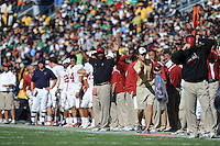 South Bend, IN - OCTOBER 4:  Assistant coach Clayton White of the Stanford Cardinal during Stanford's 28-21 loss against the Notre Dame Fighting Irish on October 4, 2008 at Notre Dame Stadium in South Bend, Indiana.