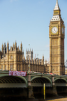 "22.04.2015 - ""Free Fede"" Banner Drop From Westminster Bridge - #FreeFede"