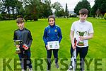 Jayden Chute  (U13) (Listowel), Ella Moynihan (Girls U16) and Brian McCarran U16 Cup from Listowel, winners of Pitch and Putt Championship in Tralee on Saturday.