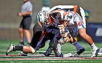 23 August 2008: Los Angeles Riptide Midfielder Anthony Kelly faces off against the Denver Outlaws during the Semi-Finals of the Major League Lacrosse Championship Weekend at Harvard Stadium in Boston, MA. The Outlaws edged out the Riptide 13-12, advancing to the upcoming Championship Game...Mandatory Photo Credit: Ed Wolfstein Photo
